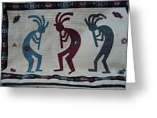 Three Flute Players Kokopelli Style Greeting Card