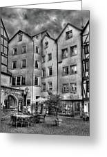 three homes in Black and White Greeting Card