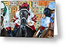 Three In The Lead Greeting Card