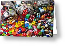 Three Jars Of Buttons Dice And Marbles Greeting Card