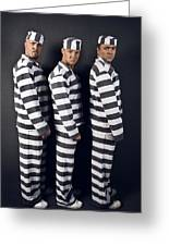 Three Prisoners. Group Of Men In Suits Of Convicts. Greeting Card