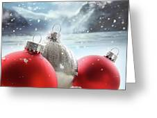 Three Red Christmas Balls In The Snow Greeting Card