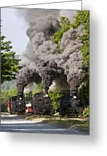 Three Train Race Greeting Card