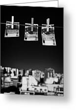 Three Twenty Euro Banknotes Hanging On A Washing Line With Blue Sky Over City Skyline Greeting Card