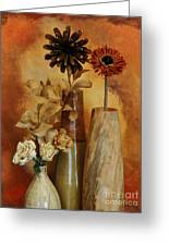 Three Vases Of Dried Flowers Greeting Card by Marsha Heiken