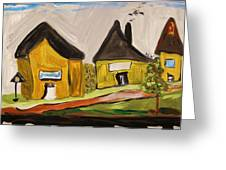 Three Yellow Houses With Picture Windows Greeting Card