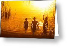 Three Young Kids Fishing On The Lake At Sunset Greeting Card
