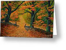 Through The Fallen Leaves II Greeting Card