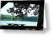 Through The Pavilion At Trap Pond State Park Delaware  Greeting Card
