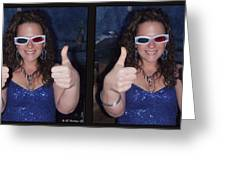 Thumbs Up - Gently Cross Your Eyes And Focus On The Middle Image Greeting Card