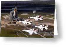 Thunderbirds Fly Past Endeavour Greeting Card