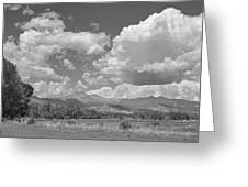Thunderstorm Clouds Boiling Over The Colorado Rocky Mountains Bw Greeting Card