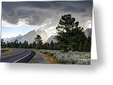 Thunderstorm On Grand Teton Road Greeting Card