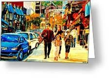 Thursdays Pub On Crescent Street Montreal City Scene Greeting Card