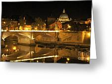 Tiber River And Ponte Vittorio Emanuele II Bridge With St. Peter's Basilica. Vatican City. Rome Greeting Card