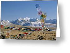 Tibetan Buddhist Prayer Flags Atop Pass Greeting Card