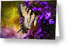 Tiger Swallowtail Feeding In Outer Space Greeting Card