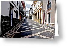 Tiled Street Of Ponta Delgada Greeting Card