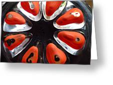 Orange And Black Art -time - Sharon Cummings Greeting Card