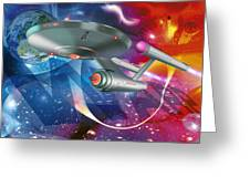 Time Travelling Spacecraft, Artwork Greeting Card