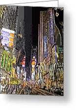 Times Square Abstract Greeting Card by Robert Ponzoni