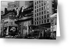 Times Square Black And White Greeting Card