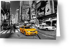 Times Square Taxi  Greeting Card