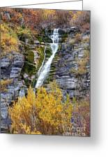 Timpanogos Waterfall In The Fall - Utah Greeting Card