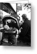 Tired Child Sleeping In Baby Stroller With Dad Greeting Card