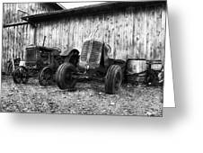 Tired Tractors Bw Greeting Card