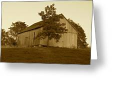 Tobacco Barn II In Sepia Greeting Card