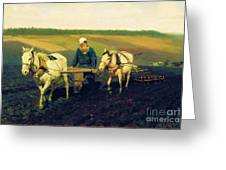 Tolstoy In The Ploughland Greeting Card