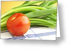 Tomato And Green Onions Greeting Card