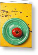 Tomato On Green Plate Greeting Card
