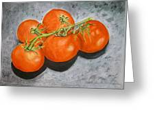 Tomatoes Greeting Card by Linda Pope