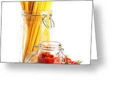 Tomatoes Sauce And  Spaghetti Pasta  Greeting Card