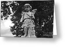 Tombstone Angel Bw Greeting Card