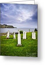 Tombstones Near Atlantic Coast In Newfoundland Greeting Card by Elena Elisseeva