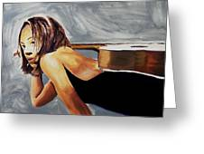 Tonya With Guitar On Back Greeting Card