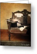 Top Hat And Cane On Sofa Greeting Card