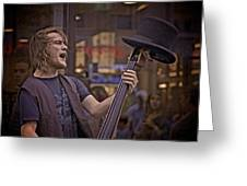 Top Hat Busker Greeting Card