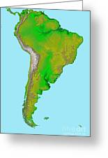 Topographic View Of South America Greeting Card