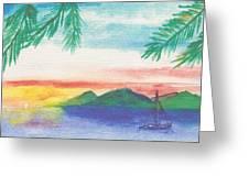 Tortola Sunset Greeting Card