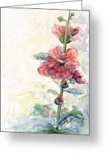 Touch Of Summer Hollyhocks Watercolor Greeting Card