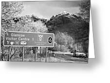 tourist sign for glencoe visitors centre in glen coe highlands Scotland uk Greeting Card