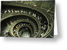 Tourists Descend The Double Spiral Greeting Card