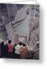 Tourists Looking Down On The Chicago Greeting Card