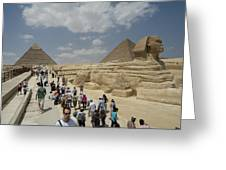 Tourists View The Great Sphinx Greeting Card