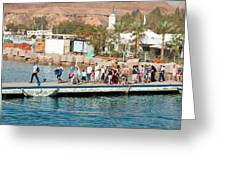 Tourists Waiting To Climb Onto Dive And Snorkeling Boats At Sharm El Sheikh Greeting Card