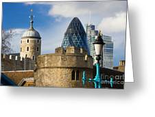Tower And Gherkin Greeting Card by Donald Davis